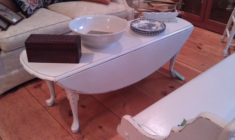 White Painted Shabby Chic Drop Leaf Coffee Table