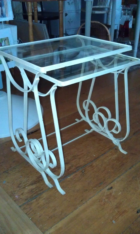 Wrought iron nesting tables simply vintage of cape cod