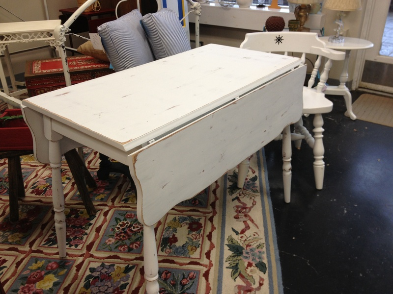 White Painted Drop Leaf Kitchen Table